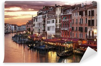 Vinylová Fototapeta Benátky Grand Canal v noci