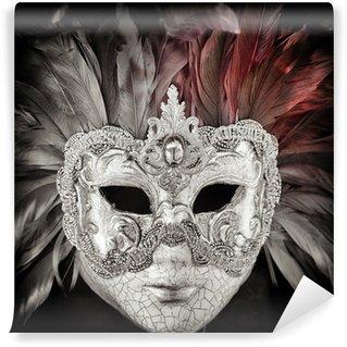 Vinylová Fototapeta Benátky karneval maska černá a bílá