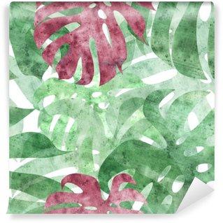 Fototapeta Winylowa Bez szwu powtarzalny monstera liści w tle