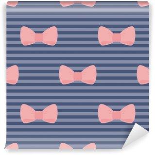 Vinylová Fototapeta Bezešvá vektorová vzor růžová mašle modré proužky pozadí