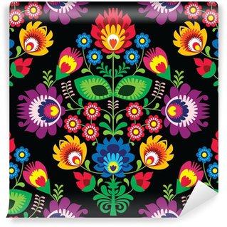 Vinylová Fototapeta Bezešvé květinový tradiční polský vzor na černém