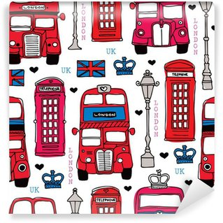 Vinylová Fototapeta Bezešvé láska Londýn Velká Británie červenými jezdit ikona vzor pozadí