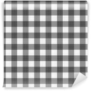 Vinylová Fototapeta Bezešvé odstíny šedé vzoru gingham s textilní textura