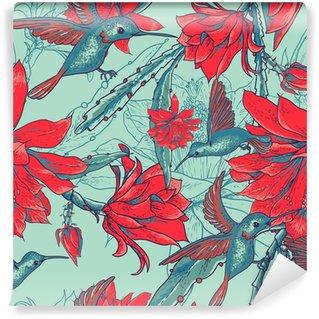 Vinylová Fototapeta Bezešvé pozadí květiny a kolibříci