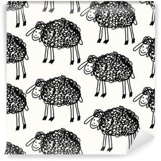 Vinylová Fototapeta Bezešvé sada s roztomilou ovcí