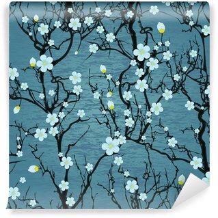 Vinylová Fototapeta Bezešvé strom vzor. Japonská třešeň květ