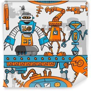 Vinylová Fototapeta Bezešvé vzor karikatura roboti na montážní lince