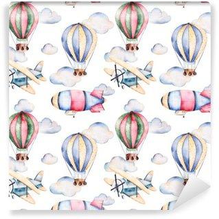 Vinylová Fototapeta Bezešvé vzor s balóny, vzducholodě, mraky a letadla v pastelových colors.Watercolor vzduchové láhve krásně zdobené na bílém pozadí a další aircrafts.Perfect pro tapetu
