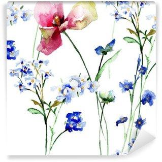 Vinylová Fototapeta Bezešvé vzor s divokými květinami