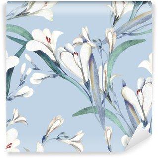 Vinylová Fototapeta Bezešvé vzor s květinami Crocosmia