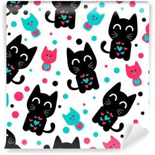 Vinylová Fototapeta Bezešvé vzor s roztomilými legrační koťata