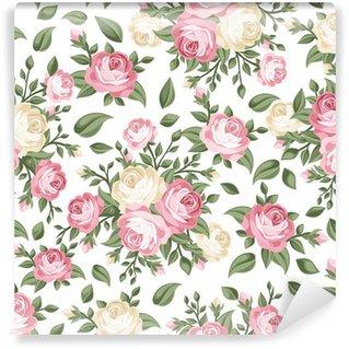 Vinylová Fototapeta Bezešvé vzor s růžovými a bílými růžemi. Vektorové ilustrace.