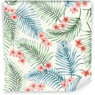 Vinylová Fototapeta Bezešvé vzor tropických listů a květů.