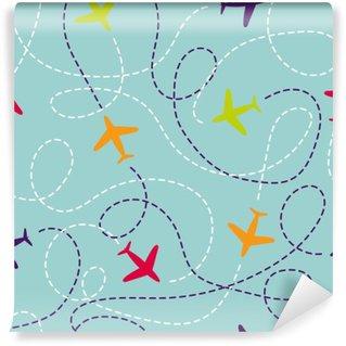 Vinylová Fototapeta Bezproblémové vzorek s letadly. Vektorové pozadí s barevnými letadel. Cestovat po celém světě pojmem. Ilustrační můžete využít k tapety, zázemím, design internetové stránky, dětský textil.