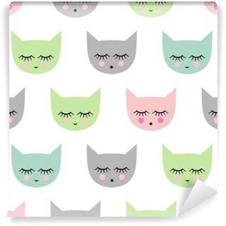 Vinylová Fototapeta Bezproblémové vzorek s úsměvem spací kočky pro děti prázdniny. Roztomilé miminko světlé vektor pozadí. Dítě styl kreslení kočička.