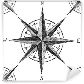 Vinylová Fototapeta Bezproblémové vzorek s větrné růžice