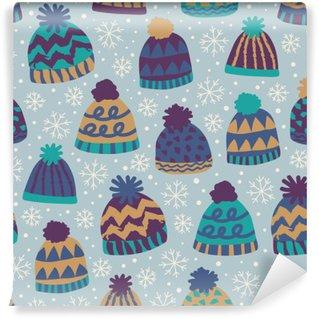 Fototapeta Vinylowa Bezszwowe wzór zimowe czapki i płatki śniegu