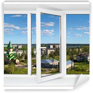 Fototapeta Winylowa Biały plastik potrójne drzwi z okna widok na miasto przez szkła.