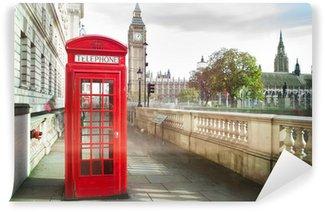 Fototapeta Vinylowa Big Ben i czerwony telefon Kabina w Londynie