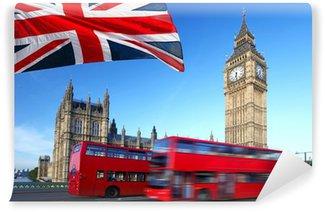 Vinylová Fototapeta Big Ben s autobusem městské a vlajka Anglie, Londýn