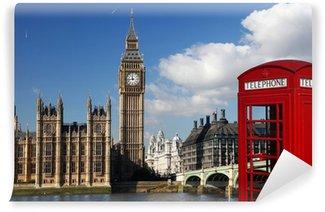 Vinylová Fototapeta Big Ben s červenou telefonní budka v Londýně, Anglie,