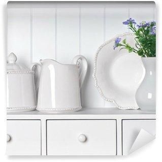 Vinylová Fototapeta Bílá police s vintage jídelní porcelán