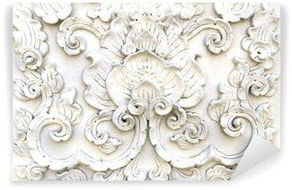 Vinylová Fototapeta Bílá thai art štukové stěny, Thai chrám