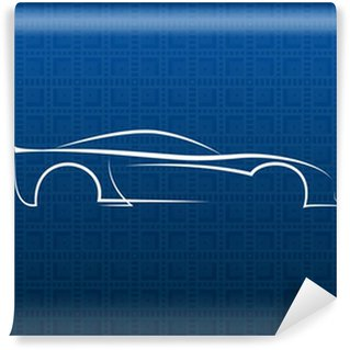 Vinylová Fototapeta Bílé logo auto na modré textury