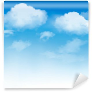 Vinylová Fototapeta Bílé mraky na modré obloze. Sky pozadí. Vektor