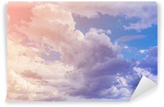 Vinylová Fototapeta Bílé mraky s modrou oblohou na pozadí. Barva tónovaný obraz.