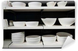Vinylová Fototapeta Bílé nádobí na policích