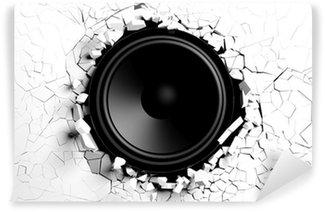 Vinylová Fototapeta Bílé nástěnné přestávky od zvuku s reproduktorem obrázku