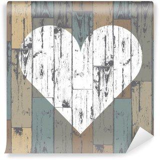 Vinylová Fototapeta Bílé srdce na dřevěné pozadí. Vector, EPS10