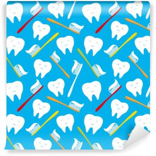 Vinylová Fototapeta Bílé zuby a barevné kartáčky na zuby.