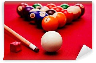 Vinylová Fototapeta Billards bazén hra. Kulečníková koule, cue barevné koule v trojúhelníku, křída
