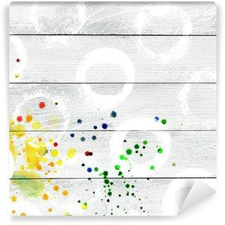 Vinylová Fototapeta Bílým nátěrem dřevěná prkna textury s postříkání
