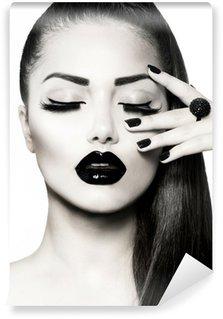 Vinylová Fototapeta Black and White Brunette Girl Portrait. Trendy Caviar Manikúra