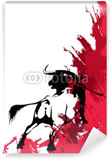 Vinylová Fototapeta Black bull-corrida