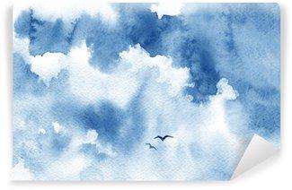 Vinylová Fototapeta Blue akvarel oblačnosti, ptáci a obloha. Jaro, léto pozadí.
