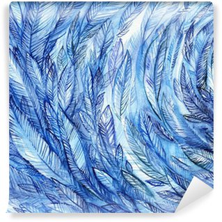 Fototapeta Winylowa blue feathers in a circle, watercolor abstract background