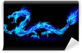 Vinylová Fototapeta Blue Fire Dragon