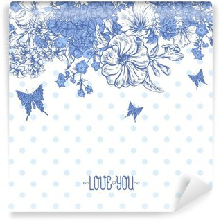 Fototapeta Winylowa Blue Spring and Summer Floral Bouquet for Invitation Cards with