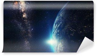 Vinylová Fototapeta Blue svítání, pohled na Zemi z vesmíru se galaxie Mléčné dráhy