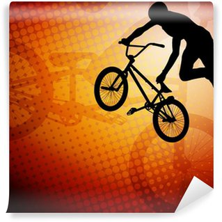 Vinylová Fototapeta Bmx senzace cyklista silueta na abstraktní pozadí - vektor