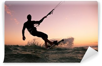 Fototapeta Vinylowa Boarding Kite. Kitesurfingu freestyle