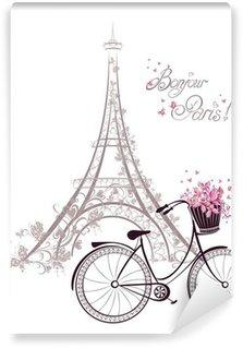 Vinylová Fototapeta Bonjour Paris text s Eiffelovou věží a na kole