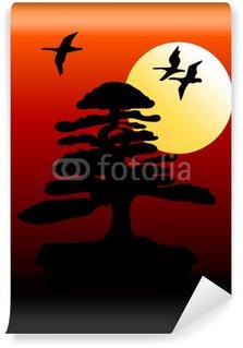 Vinylová Fototapeta Bonsai při západu slunce s létání hus