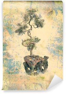 Vinylová Fototapeta Bonsai strom na mizerná texturou starého papíru