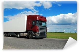 Vinylová Fototapeta Bordó nákladní automobil s přívěsem bílé