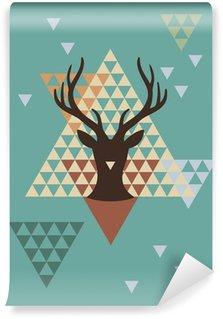 Fototapeta Vinylowa Boże Narodzenie jelenia z geometryczny wzór, wektor